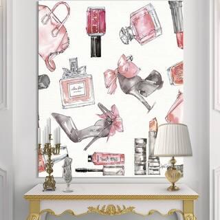 Designart 'Glam Chic Accents Pattern I' Fashion Premium Canvas Wall Art - Multi-color