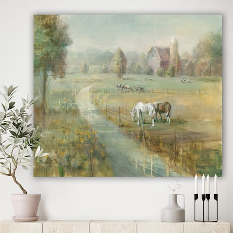 Designart 'Tranquil Country Field' Farmhouse Canvas Artwork - Green/Brown