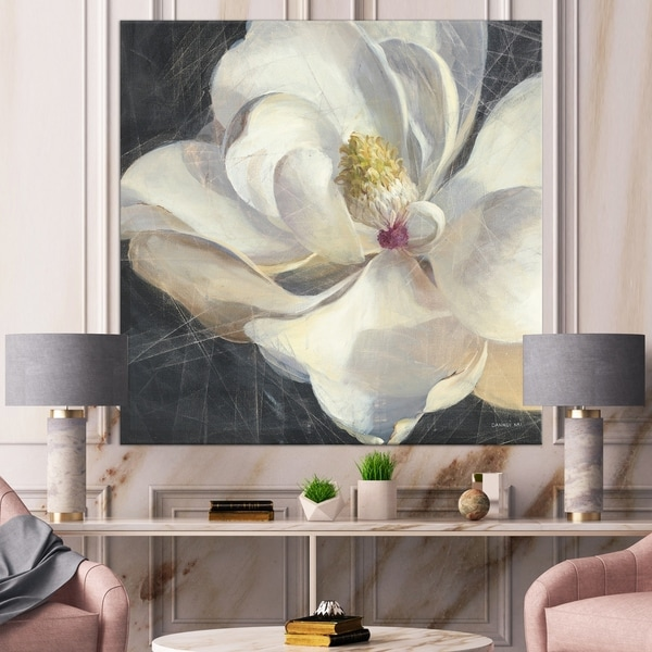 Designart 'Vivid White Magnolia IV' Shabby Chic Premium Canvas Wall Art - Black
