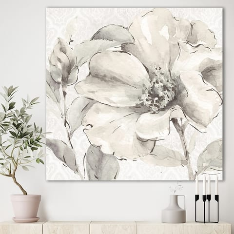 Silver Orchid 'Indigold Grey Peonies IV' Farmhouse Canvas Art