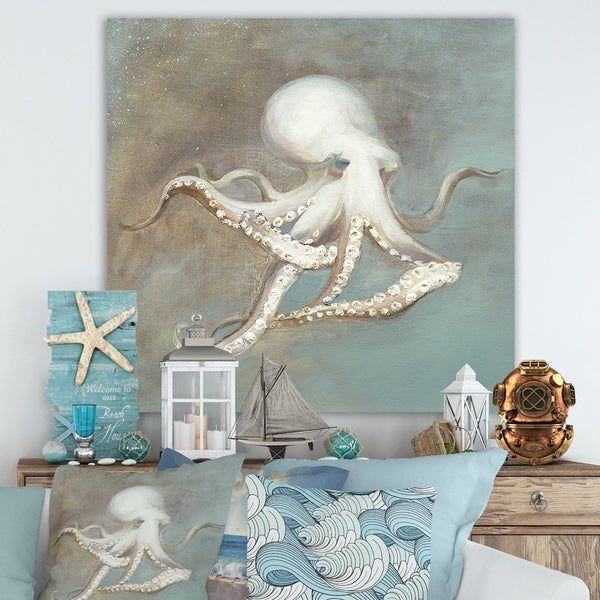 Designart 'Octopus Treasures from the Sea' Nautical & Coastal Gallery-wrapped Canvas - Blue/Brown