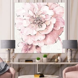 Designart 'Indigold Shabby Peonies Pink' Farmhouse Gallery-wrapped Canvas - Pink/White