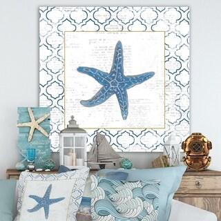 Designart 'Navy Starfish with Gold' Nautical & Coastal Premium Canvas Wall Art - Blue