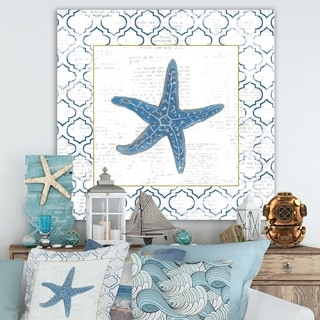 Designart 'Navy Starfish with Gold' Nautical & Coastal Premium Canvas Wall Art - Blue