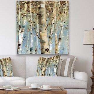 Designart 'White Birch Forest II' Modern Farmhouse Premium Canvas Wall Art - Blue