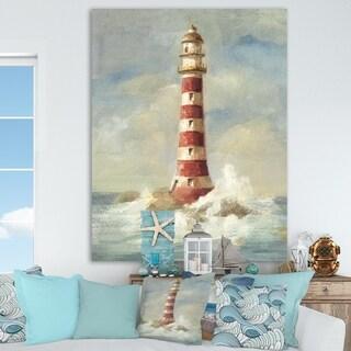 Porch & Den Ocean Lighthouse' Premium Canvas Wall Art - Blue