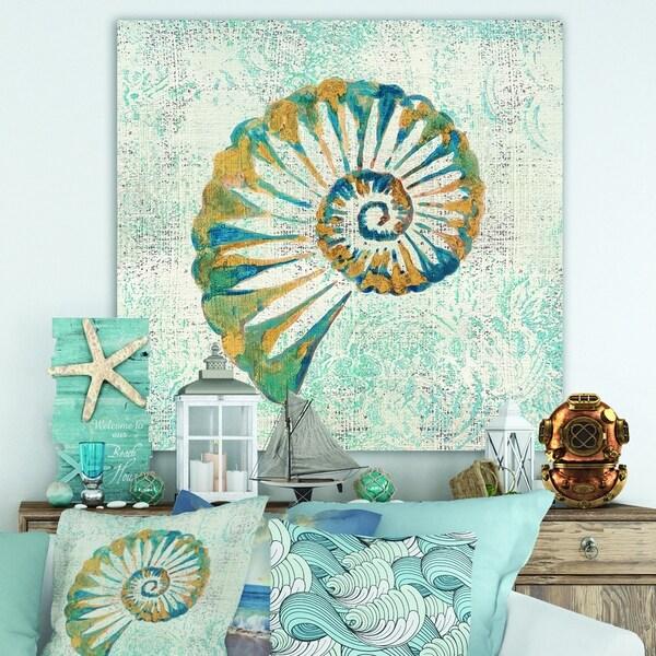 Designart 'Spiral Shell Hand Painted' Nautical & Coastal Canvas Art - Blue