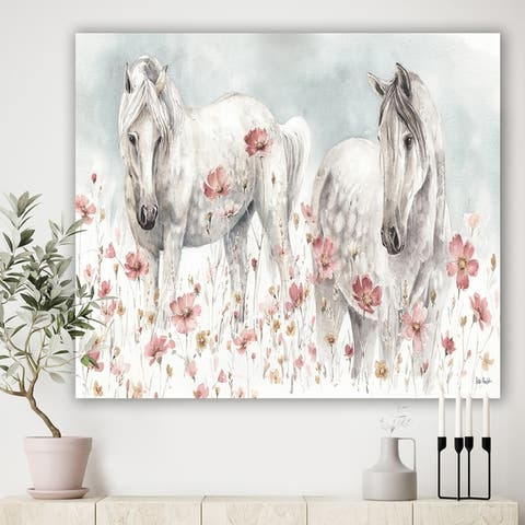 Designart 'watercolors Pink Wild Horses ' Farmhouse Premium Canvas Wall Art - Grey