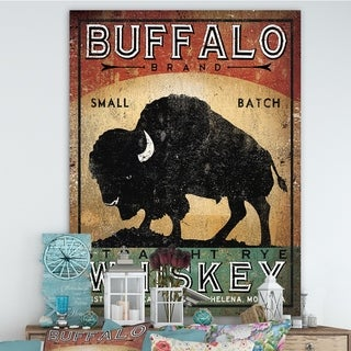Designart 'Vintage Buffalo Whiskey' Wildlife Premium Canvas Wall Art - Black