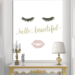 Silver Orchid 'fashion Glam Lips on Gold I' Posh & Luxe Canvas Artwork - Pink