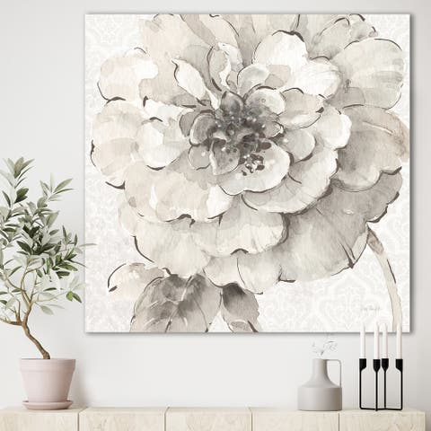 Designart 'Indigold Grey Peonies I' Farmhouse Premium Canvas Wall Art