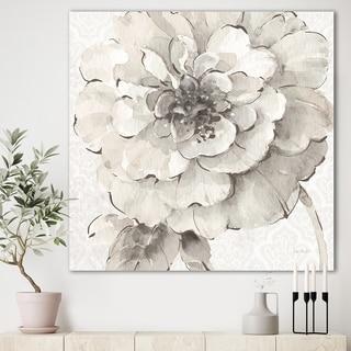 Designart 'Indigold Grey Peonies I' Farmhouse Premium Canvas Wall Art - White