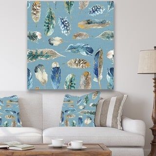 Designart 'Indigold Feathers Turquoise Pattern' Floral Canvas Art - Blue