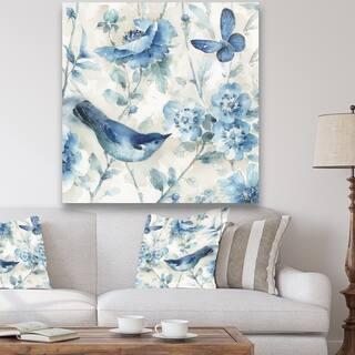 Porch & Den Indigold Bird Cottage Family II' Premium Canvas Wall Art