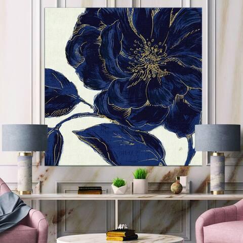 Designart 'Dark Rose Gilded Gold' Floral Canvas Artwork - Blue