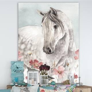 Porch & Den Watercolors Pink Wild Horses II' Premium Canvas Wall Art