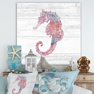Porch & Den Pink Seahorses Ocean Life' Premium Canvas Wall Art