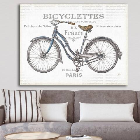Designart 'Paris France Bicycles' Vintage Transportation Premium Canvas Wall Art - Grey