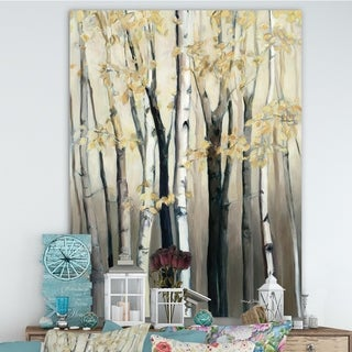 Designart 'Golden Birch Forest III' Farmhouse Canvas Art - Grey