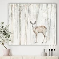 Designart 'A Woodland Walk into the Forest I' Modern Farmhouse Gallery-wrapped Canvas - Grey