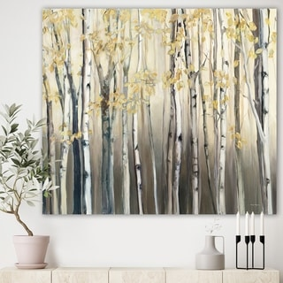 Designart 'Golden Birch Forest I' Landscapes Premium Canvas Wall Art - Grey