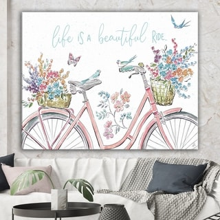 Designart 'Spring Bike Bouquet' French Country Canvas Artwork - Multi-color