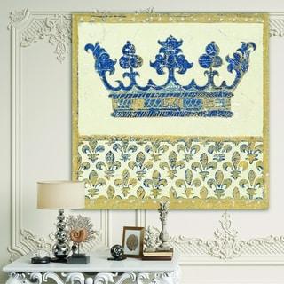 Designart 'Fleur de Lis Gold Crown' Ornate Glam Gallery-wrapped Canvas - Blue