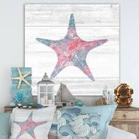 Designart 'Pink Starfish Ocean Life' Nautical & Coastal Canvas Art - Grey/Pink