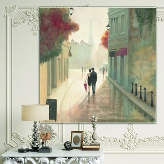 Designart 'Paris Romance Couples II' Romantic French Country Canvas Artwork - Grey/Red