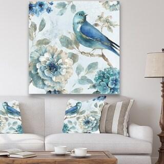 Porch & Den Indigold Watercolor Lovely bird II' Canvas Art - Blue
