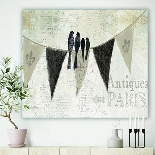 Designart 'French Bird Flea Market' Farmhouse Premium Canvas Wall Art