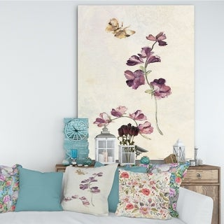 Designart 'Wild Simple Wallflowers IV' Farmhouse Premium Canvas Wall Art - Purple