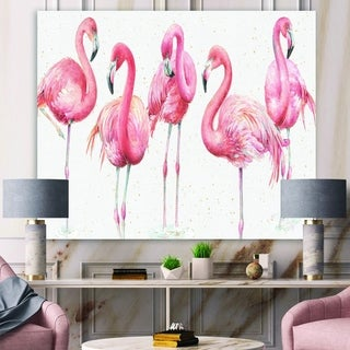Porch & Den 'Gracefully Pink Shabby flamingo' Farmhouse Premium Canvas Wall Art