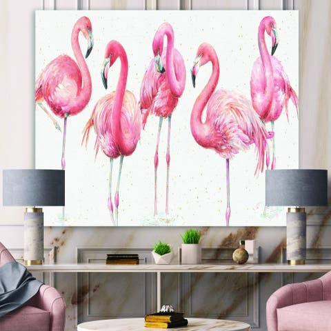 Designart 'Gracefully Pink Shabby flamingo' Farmhouse Premium Canvas Wall Art