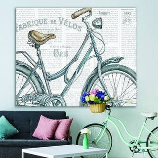 Designart 'Paris France Bicycles III' French Country Premium Canvas Wall Art - Grey