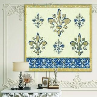 Designart 'Fleur de Lis Gold Pattern' Ornate Glam Canvas Artwork - Blue