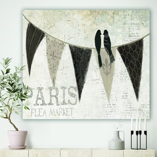 Designart 'French Bird Flea Market IV' French Country Gallery-wrapped Canvas - Black