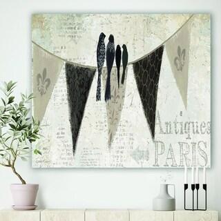 Designart 'French Bird Flea Market III' Farmhouse Premium Canvas Wall Art - Black