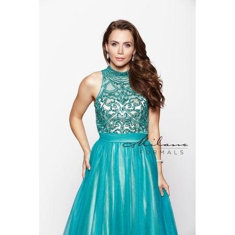 Lavish Long Teal Gown, Sparkling High Neck Beading, E1967