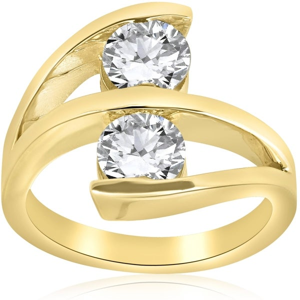 Shop Pompeii3 14k Yellow Gold 2 Ct TDW Two Stone Diamond