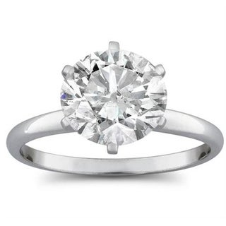 Bliss 14k White Gold 2 CT TDW Solitaire Diamond Engagement Ring Clarity Enhanced