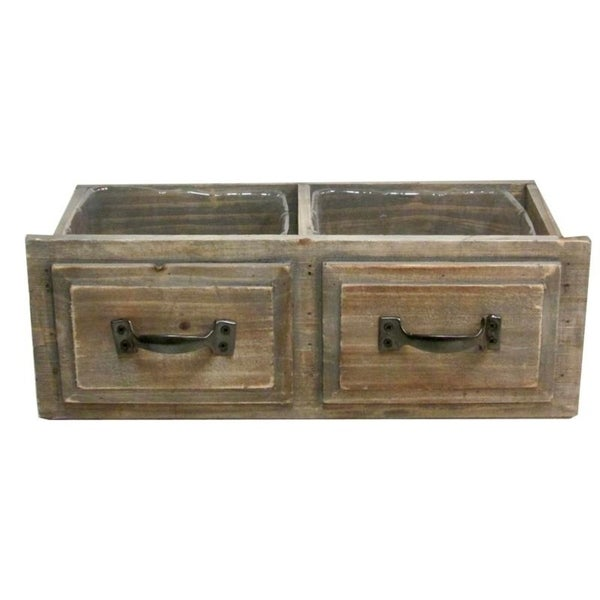 Natural Wood Double Rectangle Drawer Planter Pot With Hard Liners