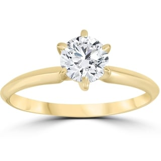 Link to Pompeii3 14k Yellow Gold 3/4 ct TDW Diamond Solitaire Engagement Ring Similar Items in Rings