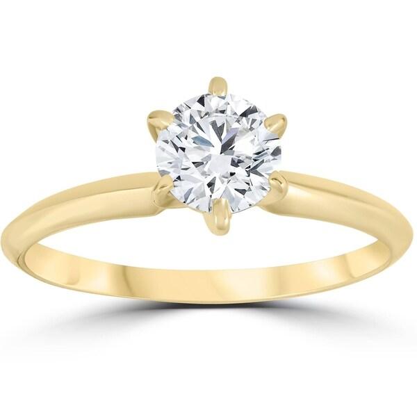 Shop Pompeii3 14k Yellow Gold 3/4 Ct TDW Diamond Solitaire