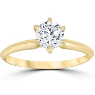 Bliss 14k Yellow Gold 3/4 ct TDW Diamond Solitaire Engagement Ring