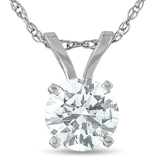 "Bliss 14k White or Yellow Gold 5/8 ct TDW Solitaire Diamond Pendant & 18"" Chain"