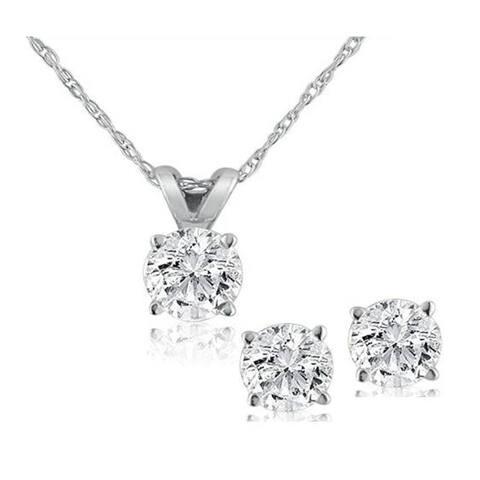 14k White Gold 1/2 ct TDW White Diamond Solitaire Pendant & Studs Set