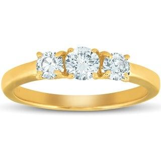 Bliss 14k White Yellow or Rose Gold 3/4 ct Three Stone Diamond Engagement Anniversary Ring
