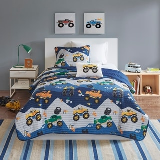 Link to Mi Zone Kids Gavin Monster Truck Blue Reversible Coverlet Set Similar Items in Kids Quilts & Coverlets