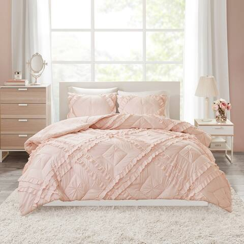 Intelligent Design Karlie Solid Coverlet Set with Tufted Diamond Ruffles